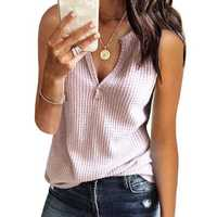Solid Color Knit V-neck Casual Tank Tops