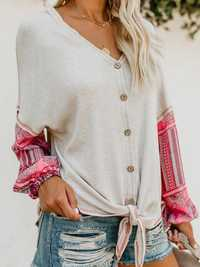 V-neck Stitching Long Sleeve Two-tone Sweaters
