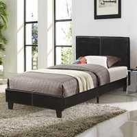Faux Leather Upholstered Platform Double Bed Frame Wood Slat Support