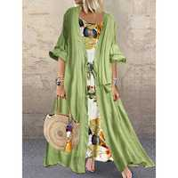 Bohemian Print Knot Two Pieces Summer Plus Size Dress