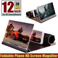 Universal 3D Phone Screen Magnifier Stereoscopic Amplifying 12 Inch Desktop Wood Bracket Phone Holder For Smartphone
