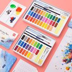 Offres Flash XIAOMI Ecosystem Deli 24/36 Colors Solid Watercolor Paint Set Metal Iron Box Hand Painted Watercolor Pigment Art Painting Tools Supplies 73876/73877