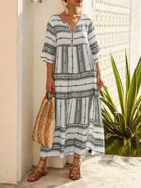 Casual Half Sleeve Stripe Print Summer Long Maxi Dress