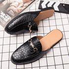 Bon prix Men Genuine Leather Crocodile Pattern Home Casual Slippers