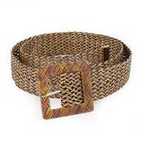Women Woven Openwork Wide Belt With Ethnic Round Buckle