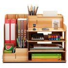 Bon prix B07-L Desktop Wooden Storage Box Multi-layer Storage Racks File Books Shelf Bookshelf Pens Pencils Holder Organizer