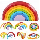 Discount pas cher KINGSO Wooden Rainbow Toys 7Pcs Rainbow Stacker Educational Learning Toy Puzzles Colorful Building Blocks for Kids Baby Toddlers