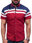 Acheter au meilleur prix Mens Summer Casual Fashion Wine Red Stitching Striped Printing Fit Designer Shirt