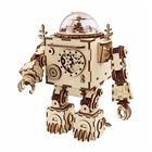Meilleur prix DIY Music Box Set Music Clockwork Wooden Robot Puzzle Assembly Music Box Christmas Gift for Kids