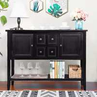 TREXM Espresso Cambridge Series Buffet Sideboard Console Wooden Table with Bottom Shelf