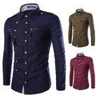 Meilleurs prix Mens Stylish Fashion Snap Fastener Multi Pockets Zippers Epaulet Decoration Slim Fit Designer Shirt