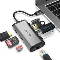 Vention CNDHB Type-C to HDMI USB3.0 RJ45 SD TF PD Converter 8-in-1 Type-C Adapter