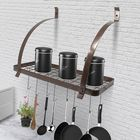 Recommandé Bronze Iron 8 Hooks Pan Holder Shelf Rack Hanging Bathroom Hanger Kitchen Organizer Multi-use Shelf Cup Bowl Pot Storage Rack Home Decor