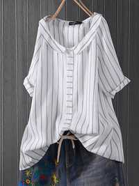 Lapel Stripe Casual Blouse