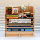 Meilleur prix Wooden File Books Holder Bookshelf Desktop Organizer Storage Shelf File Tray Pen Pencil Holder Office School Home Supplies