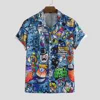 Mens Character Printing Turn Down Collar Casual Shirts