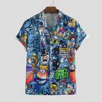 Mens Character Printing Turn Down Collar Casual Shirts