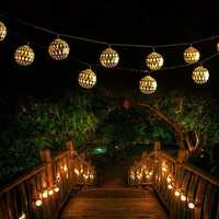 5M 7M Moroccan Metal Ball 20/30/50 LED Solar String Light Outdoor Christmas Fairy Lamp Garden Decor