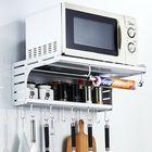Meilleurs prix Aluminum Microwave Oven Wall Mount Microwave Kitchen Desktop Organizer Racks 2 Layer Oven Stand Kitchen Storage with Hooks