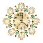 Meilleurs prix European Retro Flower Diamond Iron Wall Clock Creative Mute Wall Clock Living Room Decorative Clock