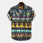 Offres Flash Mens Summer Colorful Stripe Printed Breathable Casual Shirts