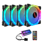 Offres Flash Coolmoon 4PCS 12cm Multilayer Backlit RGB CPU Cooling Fan PC Heatsink with the RF Wireless Remote Control