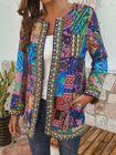 Acheter Women Vintage Folk Style Printed Long Sleeve Coats