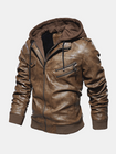 Meilleurs prix Mens Fashion PU Hooded Zipper Jacket Warm Thick Leather Coat