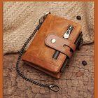 Promotion Men Genuine Leather Wallet RFID Anti-theft Short Zip Coin Hold Biker Chain Purse