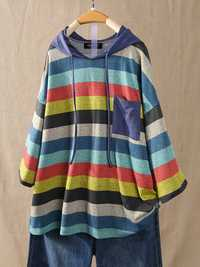 Women Hooded Color Patchwork Striped 3/4 Sleeve Blouse