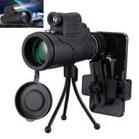 40x60 Monocular HD Optic BAK4 Day Night Vision Led Laser Flashlight Telescope With Tripod Phone Holder
