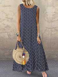 Bohemian Sleeveless O-neck Polka Dot Print Maxi Dress