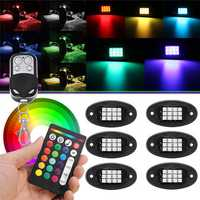6Pcs Universal Colorful RGB LED Car Rock Lights RF Dual Remote Control 5050 72 Led Waterproof IP68 Energy-saving Ambient Lamp Car SUV Pickup