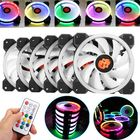 Promotion Coolmoon 6PCS 120mm Adjustable RGB LED Light Computer PC Case Cooling Fan with Remote