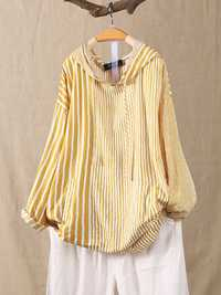 Stripe Splice Hooded Irregular Long Sleeve Blouse