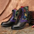 Promotion Women Watercolor Painting Genuine Leather Ankle Boots