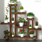 Meilleurs prix Multi-Tier Wooden Plant Flower Stand Plants Shelf Bookshelf Standing Flower Potted Windmill Plant Holder Display Outdoor Decor + Planting Tools Kit with Wheel
