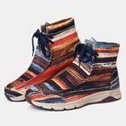 Prix de gros Women Winter Comfortable Splicing Lace Up Ankle Boots