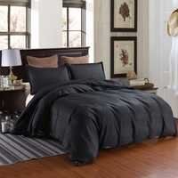 3 PCS Bedding Sets Solid Color With Stripes Quilt Cover Pillowcase For Queen Size