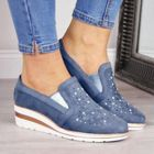 Promotion Women Casual Pointed Toe Hollow Slip On Wedges Loafers