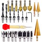 Meilleurs prix Drillpro 25pcs Woodworking Chamfer Countersink Drill Bit Set Step Drill Bits 5 Flute 90 Degree Countersink Drill Wood Plug Cutter and Certer Punch