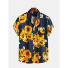 Meilleurs prix Mens Sunflower Printed 100% Cotton Fit Loose Causal Shirts