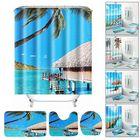 Meilleurs prix Beach Sea Waterproof Non Slip Bathroom Shower Curtain Toilet Cover Mat Rug Set 5