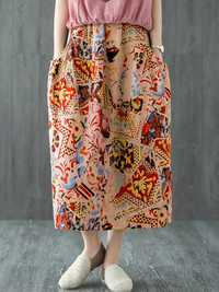 Print Elastic Waist Medium Long Skirts