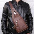 Acheter Ekphero® Men Casual Genuine Leather Oil Wax Chest Bag Crossbody Bag