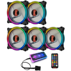 Acheter Coolmoon 5PCS 120mm RGB Adjustable LED Cooling Fan Multiple Thin Apertures CPU Cooling Fan with the Remote Control