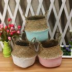 Meilleurs prix 5PCS Mat Grass Belly Basket Storage Plant Pot Foldable Laundry Bag Room Decorative Flower Pot