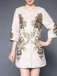 Plus Size Elegant Women Embroidery Coats