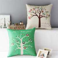 Linen Owls Bird Tree Throw Pillow Case Sofa Cushion Cover