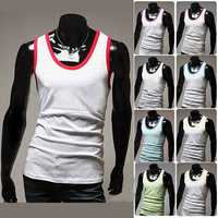 Mens Stylish Contrast Color Summer Cotton Sports Vests